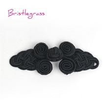 BRISTLEGRASS 5 Pair Handmade Black Chinese Knot Button Frog Closure Ribbon Fastener Cheongsam Costume Tang Suit DIY Sewing Craft