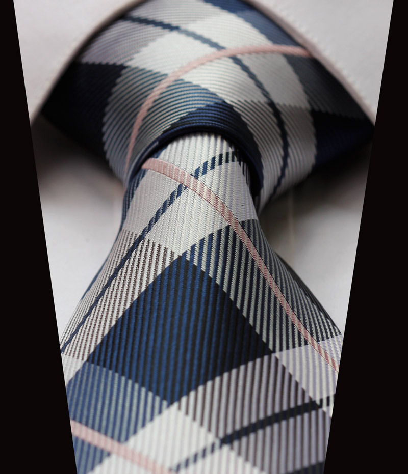 TC4030A8 Navy Blue Gray Check New 3.4 inch 100% Silk Jacquard Woven Classic Man's Tie Necktie - HISDERN store