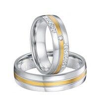 Пользовательские Анель feminino titanium предложение цвет Золотистый декор обещание cz обручальные кольца для обувь для мужчин и женщин