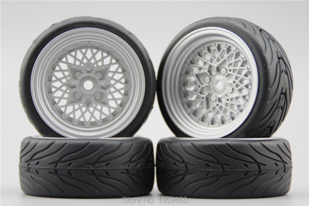4pcs Rc 1/10 Soft Rubber Touring Car Tire Tyre Wheel Rim Classic1s 6mm Offset painting Silver 10358+rubber Tire Sale Overall Discount 50-70%