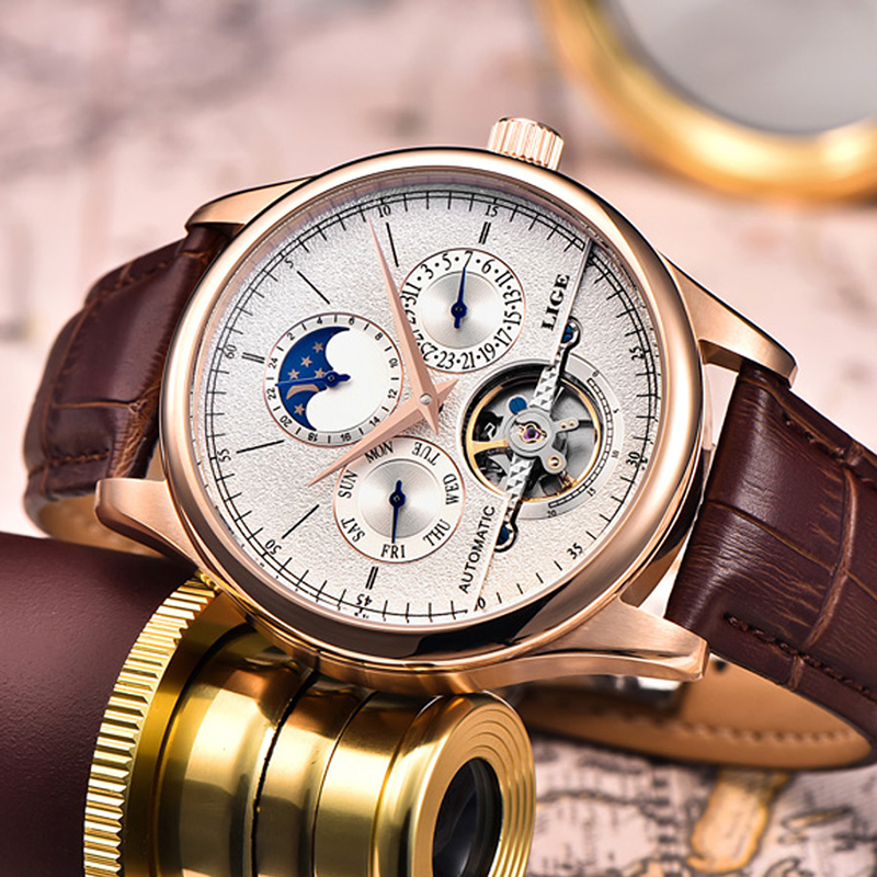Relojes para Hombre marca LIGE Relojes mecánicos automáticos reloj deportivo Tourbillon cuero Casual reloj de pulsera de negocios oro