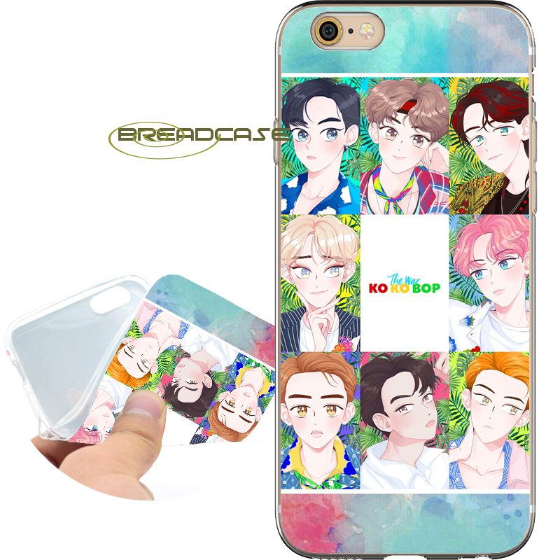 Fundas EXO KoKoBop Kpop Phone Cases for iPhone 10 X 8 7 6S 6 Plus 5S SE 5 5C 4S 4 iPod Touch 6 5 Soft Clear TPU Silicone Cover.