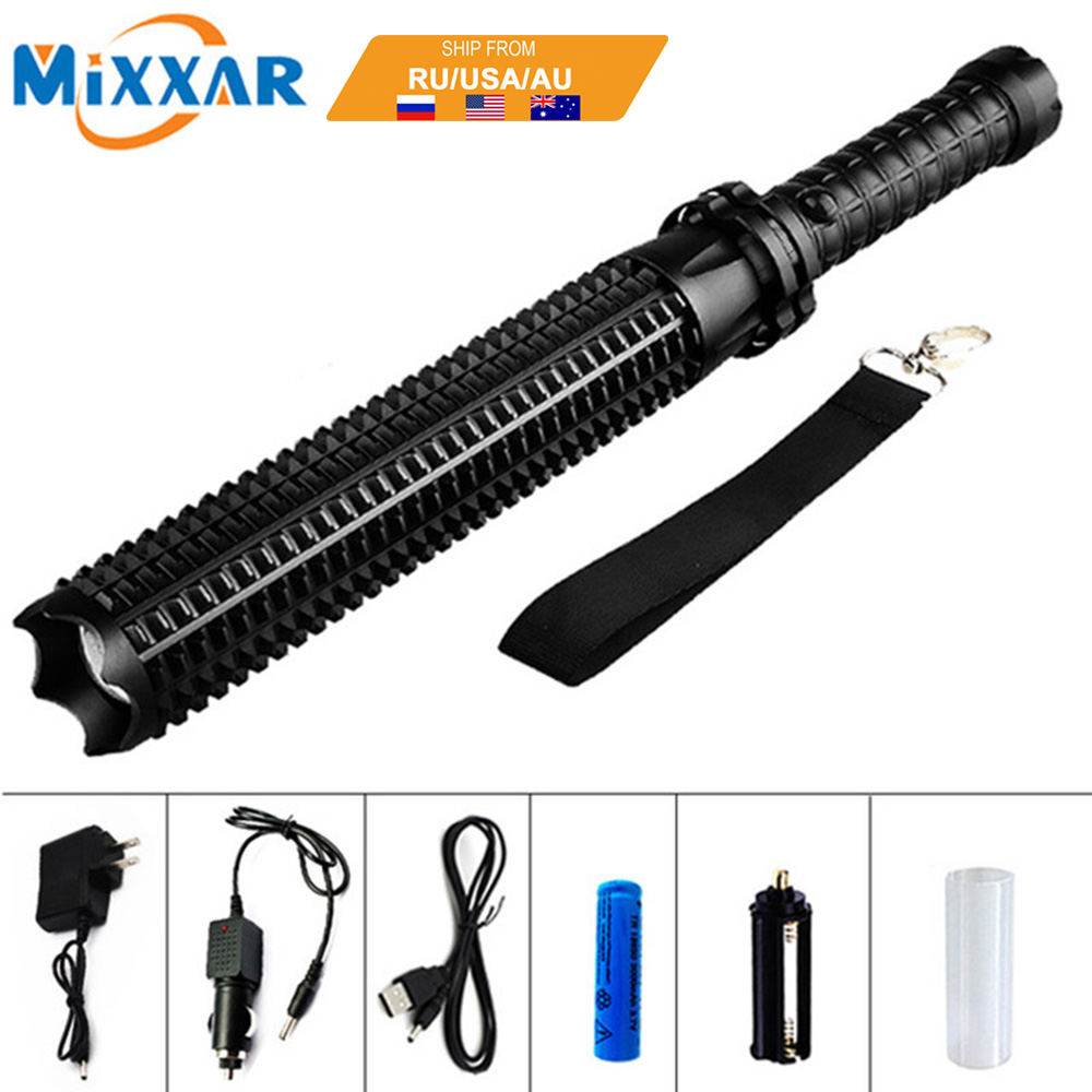 EZK20 Dropshipping L2 Tactical Baseball Bat Latarka LED 9000LM 18650 Rechargeable Torch do Emergency Self Defense Patrol