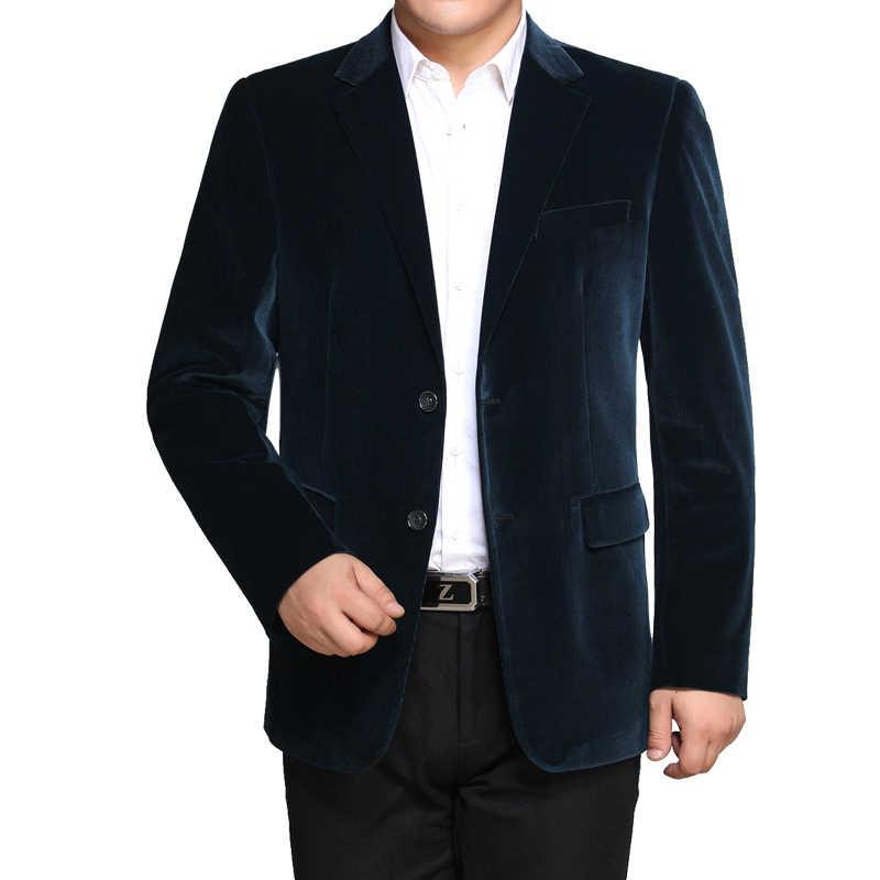 WAEOLSA 男性ストライプベルベットブレザーエレガントな無地のスーツコート男ウールブレザー Hombre コーデュロイのスーツジャケット赤海軍ブルー