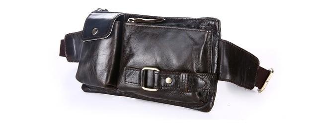 Nesitu Vintage Cowhide 100% Guarantee Real Kin Genuine Leather Women / Men Waist Bags #M8135