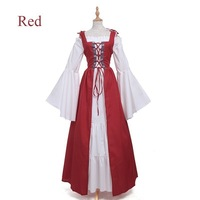 2019 Medieval Vintage Bandage Corset Dress For Women Renaissance Gown Long Sleeve Halloween Cosplay Costume aa665