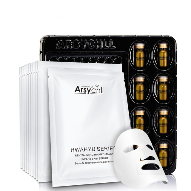 Hyaluronic Acid Essence Repair Facial Mask+Baby Needle Face Skin Care Treatment Mask Whitening Hydrating Anti Winkles Beauty