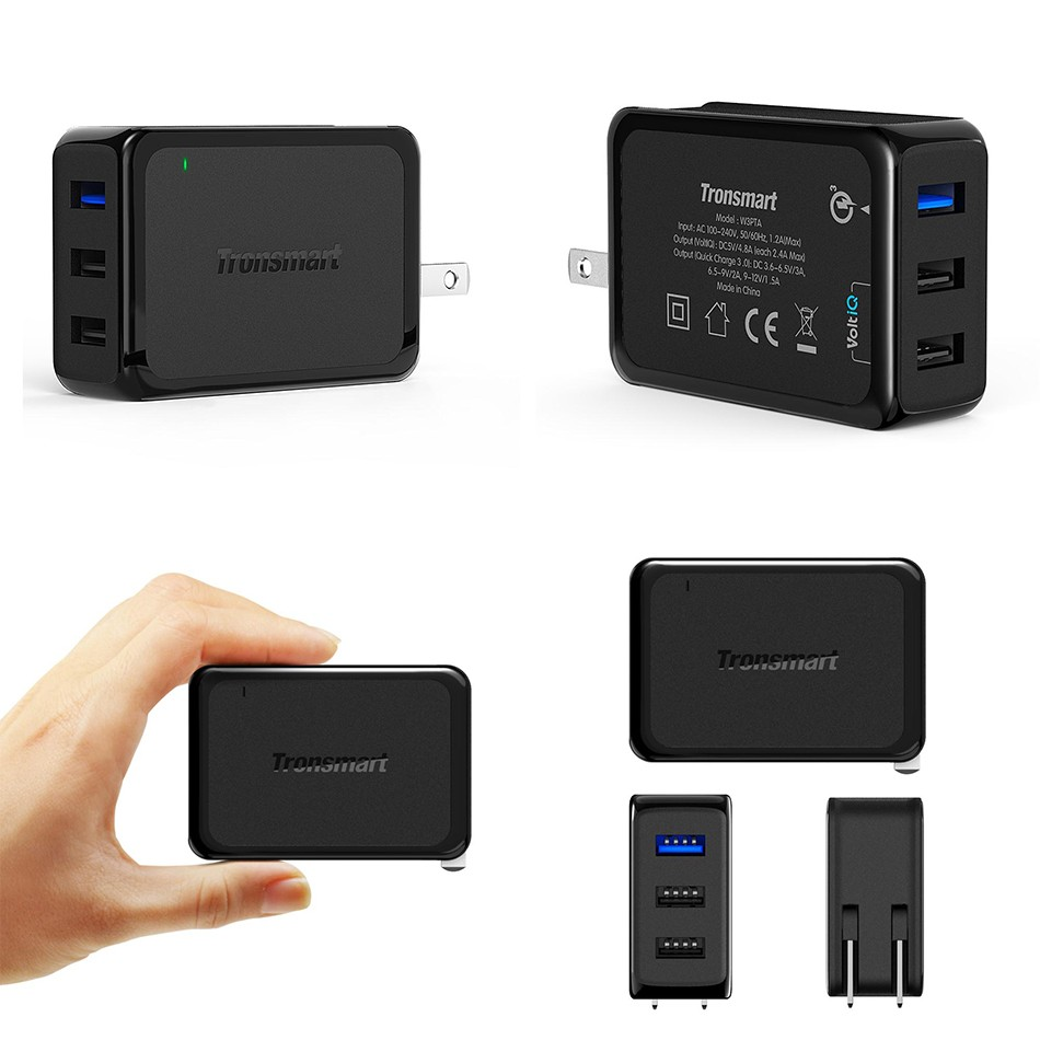 Tronsmart W3PTA USB Charger Qualcomm Certified Quick Charge 3.0 QC3.0 USB Smart Charger 1