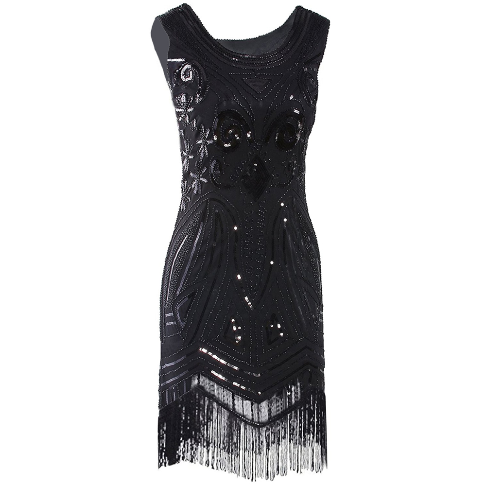 Vintage Great Gatsby Beaded Fringed Sequin Black Midi Dress