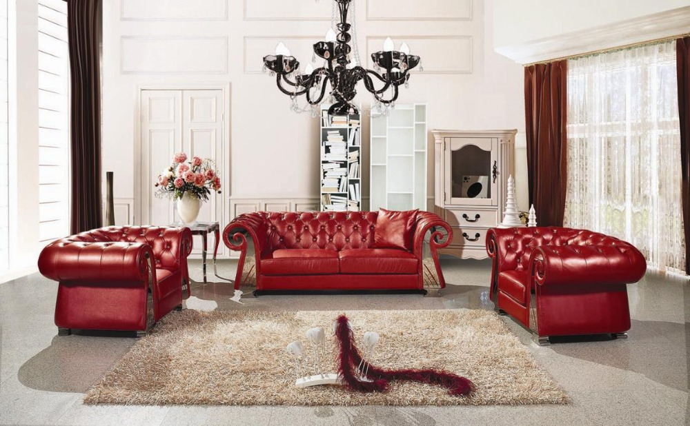European Style Luxury Villa Living Room Sofa Leather Fabric French Neoclassical