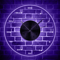 Music Notes LED Lighted Wall Clock Modern Musical Theme Wall Art Decor Clock Watch Multi color Wall Light Gift For Musician