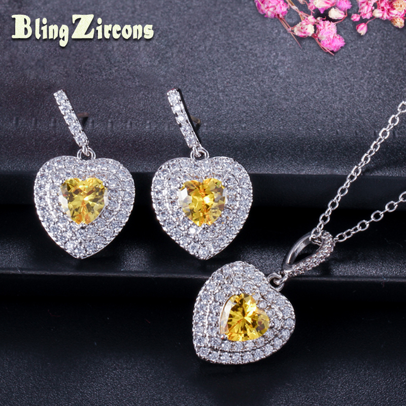 BeaQueen Heart Cubic Zirconia Paved CZ Crystal 925 Sterling Silver Earrings Necklace Jewelry Set JS033