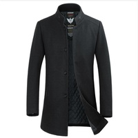 2017 New 4XL 3XL high quality Winter woolen long men slim fit casual thick overcoat mens warm Windbreaker trench coat Jackets,