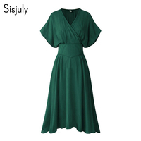 Sisjuly Vintage Hunter Plus Size Dresses 4XL Women 2018 Pleated Loose Simple Pullover Elegant Girls Retro Oversized Female Dress