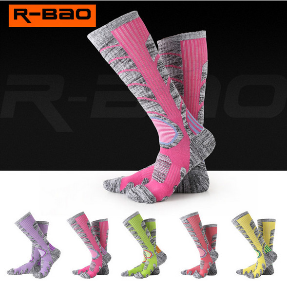 3 Pairs R-BAO RB3301 Ski Socks 85% Cotton Hiking Socks Outdoor Womens Sports Socks Spring Winter Fit to Size 35-39