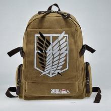 Heißer verkauf leinwand Investigation Corps anime jugendliche seitlichem reißverschluss tasche studenten mochila schultasche angriff auf titan rucksack