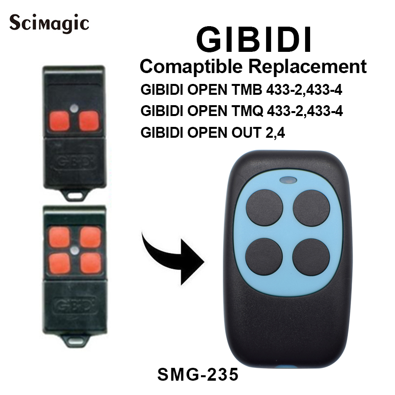 GIBIDI <font><b>garage</b></font> <font><b>door</b></font> <font><b>remote</b></font> control GIBIDI <font><b>OPEN</b></font> TMB 433-2,433-4 / <font><b>OPEN</b></font> TMQ 433-2,433-4 / <font><b>OPEN</b></font> OUT 2,4 433mhz <font><b>remote</b></font> fixed code image