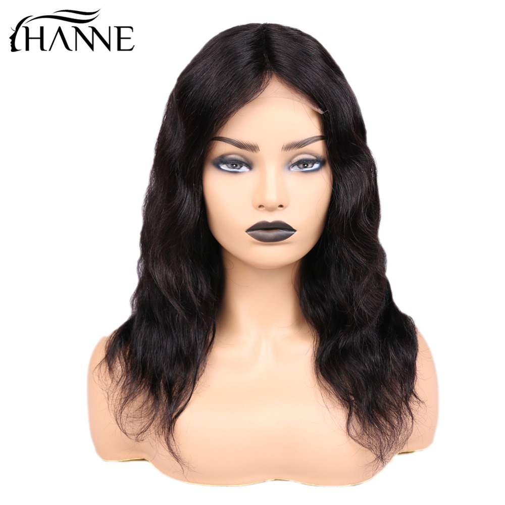 Brazilian Hair 4*4 Lace Closure Human Hair Wigs Natural Wave Lace Remy Hair Wig With 150% Density For Women 1B# Color HANNE