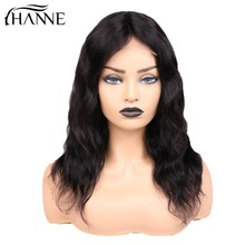 Brazilian Hair 4*4 Lace Closure Human Hair Wigs Natural Wave Lace Remy Hair Wig With 150% Density For Women 1B# Color HANNE natural wave lace front human hair wigs middle part short remy wig for black women perruque cheveux humain 1b 99j hanne hair