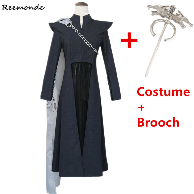 Movie Game of Thrones Season 7 Daenerys Targaryen Cosplay Costumes Black Dresses Full Set Halloween Uniforms For Women Girls