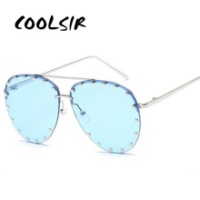 COOLSIR Blue Lens Pilot Sunglasses Women Men Goggle Rivet Transparent Brand Designer Sun Glasses For Ladies Metal Frame Oculosc