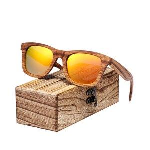 Image 3 - BARCUR Vintage Natura Zebra Wood Sunglasses Women Men Square Sun glasses Polarized Retro Sunglasses