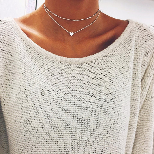 Best Small Heart Necklace Gold Color  Silver Necklace For Girlfriend