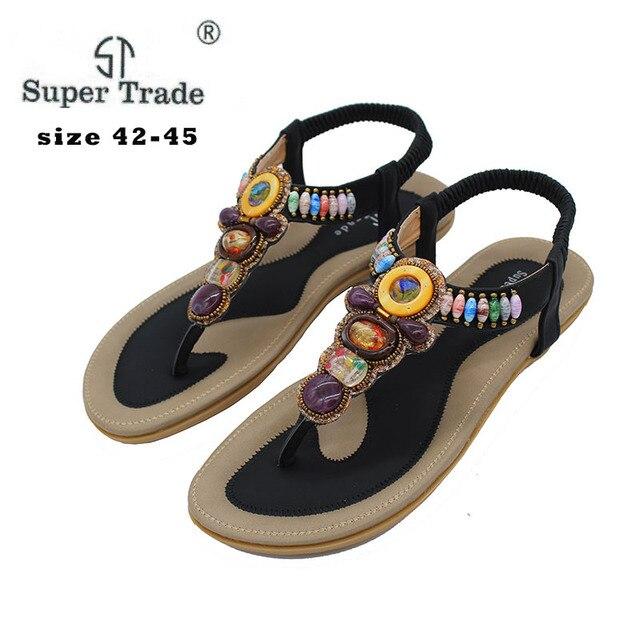 57f6b345d3490b 2018 New Korean Comfort Women Sandals Bohemian Beaded Flat Shoes Large Size  43-45 women Shoes Royal Women Sandals ST-99