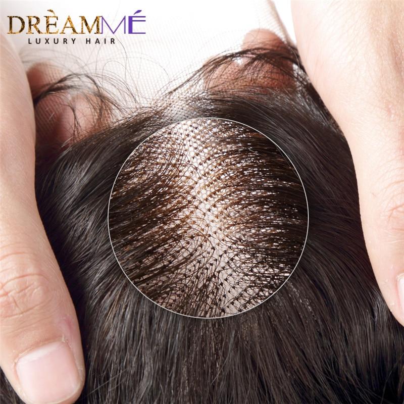 Brasilianske body wave snøre lukning gratis del remy hår lukning - Menneskehår (sort) - Foto 6