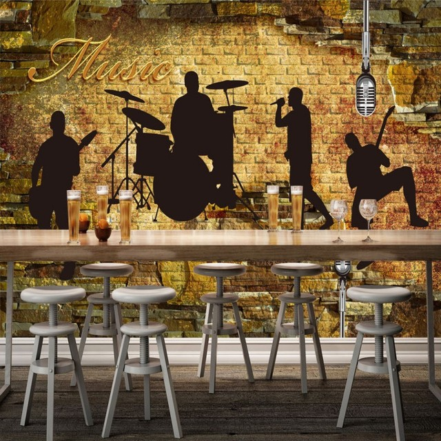 bar background karaoke band brick wall ktv silhouette stereo retro custom zoom wallpapers mural mouse