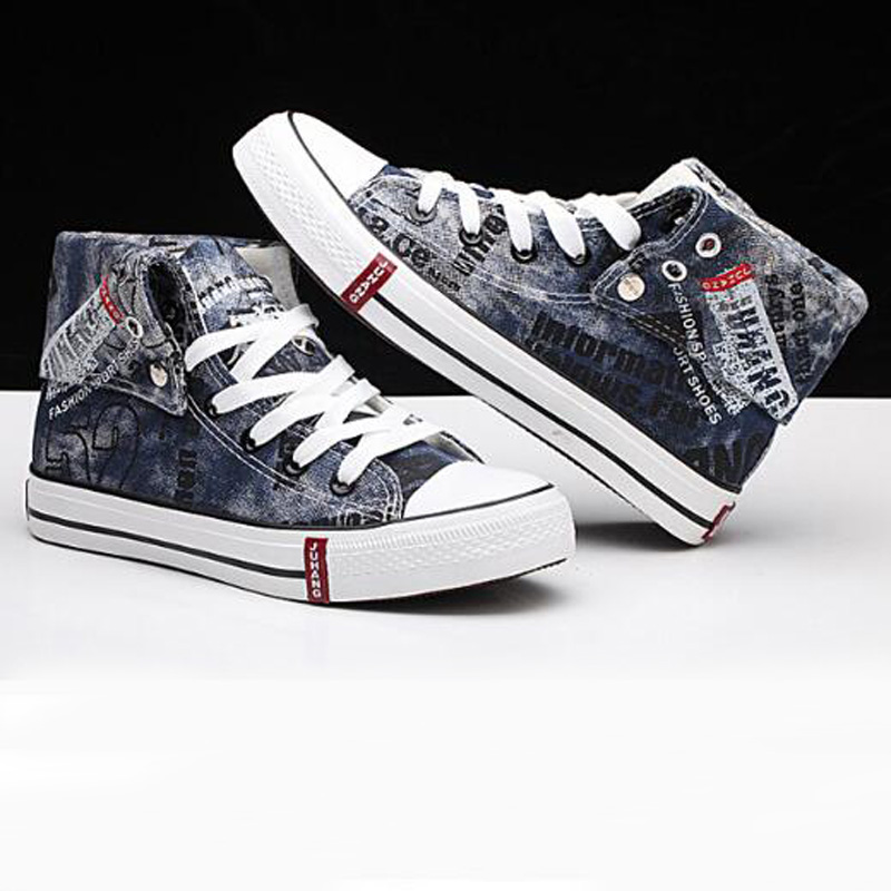 9b3493d60 Canvas Graffiti Men Casual Shoes Denim Sneakers Men Vulcanize Shoes Oxford  Plimsolls Footwear Turn Over Summer Male Shoes