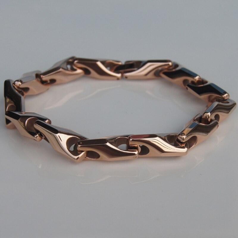8.5mm largeur 86g hommes bijoux chaîne de vélo classique lourd hi-tech plaqué or rose bracelet en tungstène