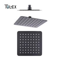 TULEX Black Rain Shower Head Square Overhead Rainfall 8 SUS 304 Rain Shower Head for Bathroom Shower Accessories for Bathroom