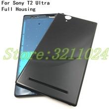 דיור מלא עבור Sony Xperia T2 Ultra יחיד/כפול כרטיס שיכון כיסוי הלוח הקדמי התיכון אמצע מסגרת לוחית סוללה חזרה כיסוי + לוגו