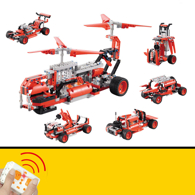 5 in 1 LEPIN Technic Series Blocks Bricks Helicopter Toy Remote Control Race Cars Model Building Blocks Bricks Toys for Children f1 remote control cars remote control cars children s toy car gifts for children