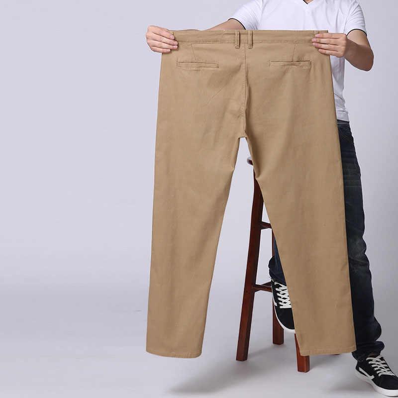 MAX 27-44 46 48 นิ้วเอว Plus ขนาดแฟชั่น 2019 ฤดูใบไม้ผลิใหม่ฤดูหนาวตรงชายสบายๆกางเกง 100% กางเกงผ้าฝ้าย
