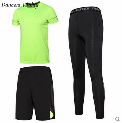 3pcs new Men Compression Sport Suits Tights Skins Base Layers Basketball Shirts Pants Fo ...