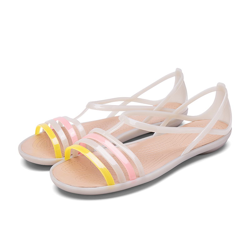 2018 Summer Rainbow Jelly Shoes Women Wedges Sandalias Woman Sandals Candy Color Peep Toe Stappy Beach Valentine Mujer Slippers summer new casual flat women sandals fashion wedges mixed colors women sandals comfortable peep toe sandalias woman shoes mujer