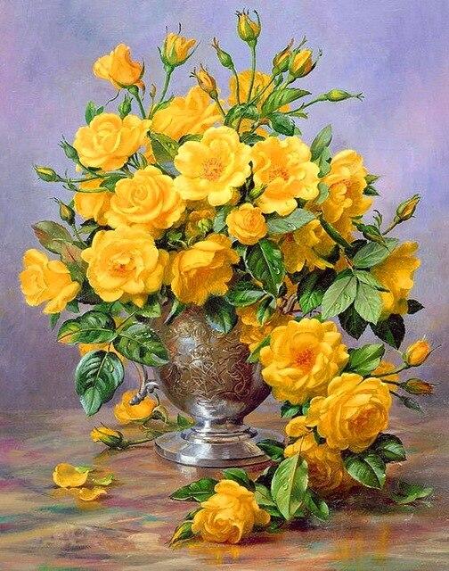 Moderne Handgefertigte Gemälde Gelbe Rose Auf ölgemälde Leinwand Für Wohnzimmer  Dekor Und Wand Kunst Poster,