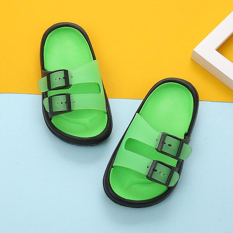 Новая летняя мультяшная детская обувь Cave мальчики девочки уличные тапочки дети пляжные вьетнамки дышащий светильник тапки для малыша - Цвет: Green