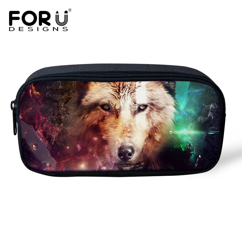 FORUDESIGNS 3D Wolf Animal Child Fashion Pencil Case Pen Pencil Box Holder For Student School Supplies Woman Makeup Cosmetic Bag animal cat pencil case big capacity pen bag boxes student school supplies multifunction stationery creative cute student gifts