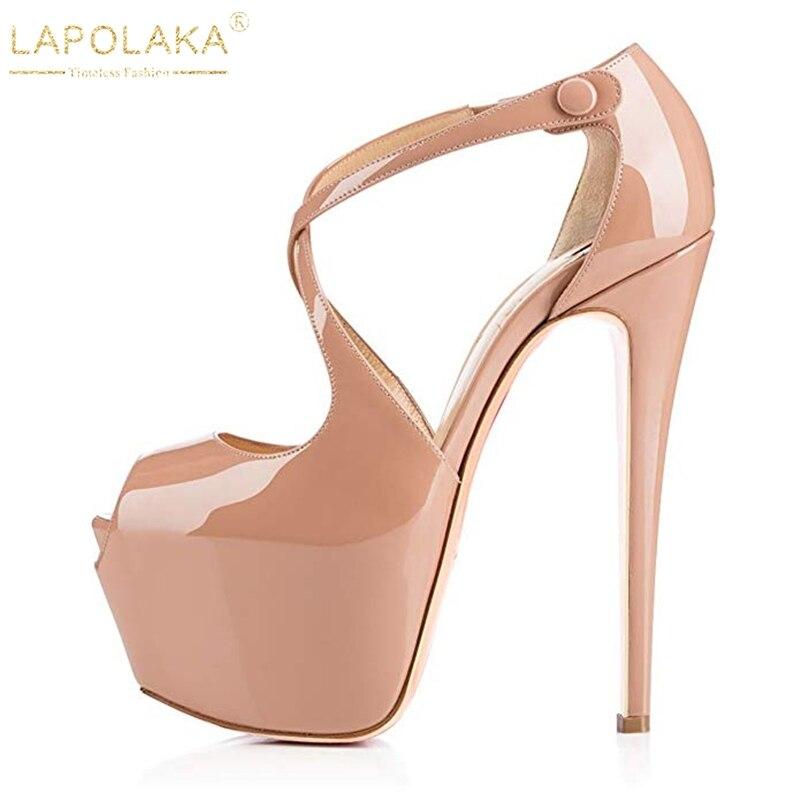 LAPOLAKA NEW BIG Size 45 Dropship Party Shoes Woman Sexy Platform 15cm High Heels Peep Toe Women's Shoes Sandals PUMPS