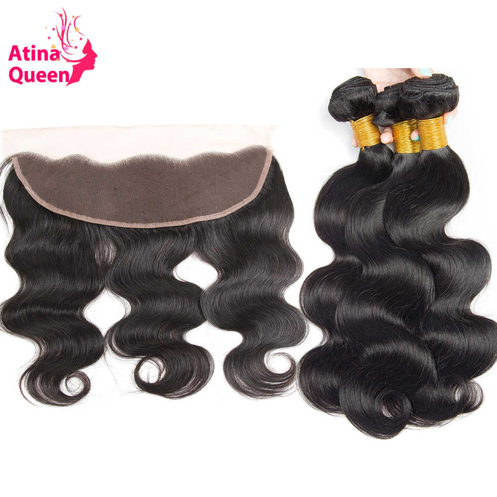 13x4 Ear to Ear Lace Frontal Closure with Bundles Cambodian Body Wave Virgin Hair Weave Atina Queen Hair Products 100 Human Hair
