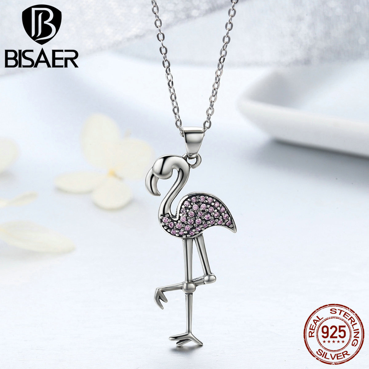 Genuine 925 Sterling Silver Clear Pink CZ Flamingo Pendant Necklaces Women Luxury Jewelry Brincos saint valentin cadeau GXN093 42 xdzs 260 elegant pink flamingo print art