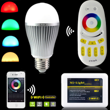 Milight LED light bulbs 2.4G Wireless E27 RGBW rgb wifi LED Dimmable Bulb Lamp RF Light-emitting diode Remote Wifi APP control