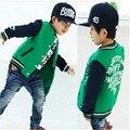 Cor uniforme de beisebol do bebê 2016 novo springChildrens Meninos letras uniforme de beisebol cardigan meninos grandes jaqueta de manga comprida casaco