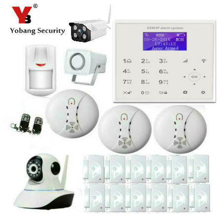 YobangSecurity Wireless GSM WiFi GPRS Intelligent Alarm Security System with Outdoor Wireless IP Camera Smoke Fire Detector yobangsecurity touch keypad wireless wifi gsm home security burglar alarm system wireless siren wifi ip camera smoke detector