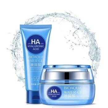 Bioaqua cristalina del cuidado de la piel de ácido hialurónico cara crema 50g y limpiador Facial 100g Anti arrugas Anti envejecimiento de la piel producto de cuidado