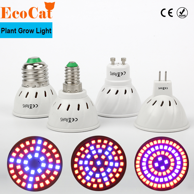 LED Grow Light Full Spectrum E27 E14 GU10 MR16 48 60 80LEDs Spot Lamp UV IR Red Blue For Flower Plant Hydroponics Bulb