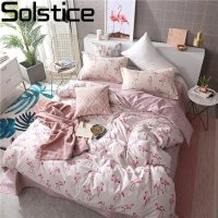 Solstice Home Textile Duvet Cover Pillowslip Flat Sheets Girl Woman Child Teen Bedding Set Flamingo Pink Linen Queen Full 3/4Pcs